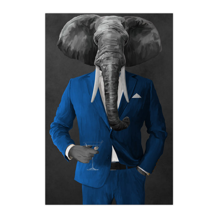 Elephant drinking martini wearing blue suit large wall art print