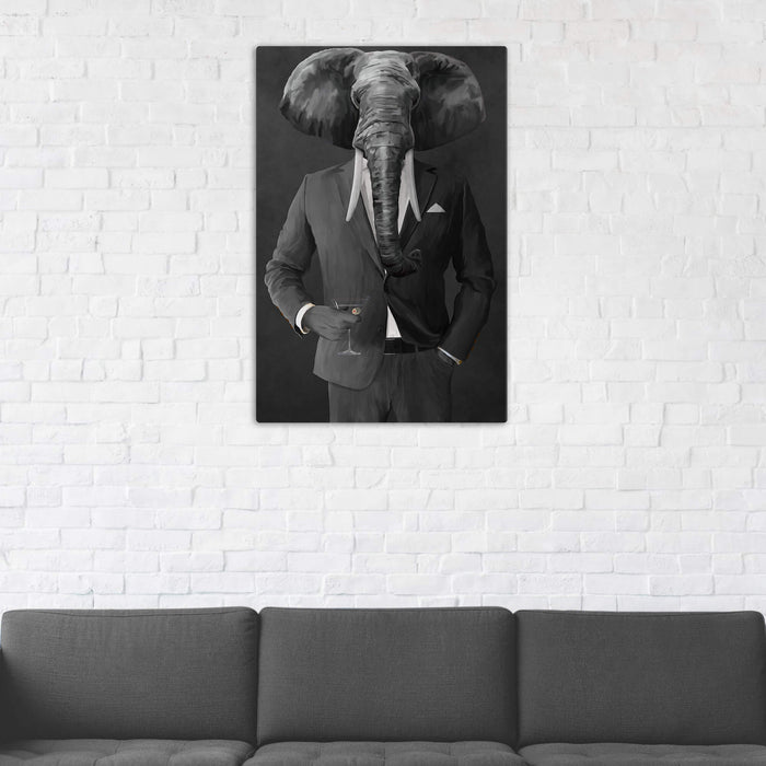Elephant drinking martini wearing gray suit wall art in man cave