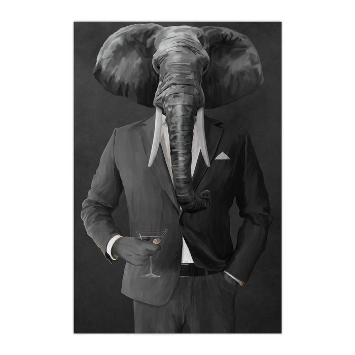 Elephant drinking martini wearing gray suit large wall art print