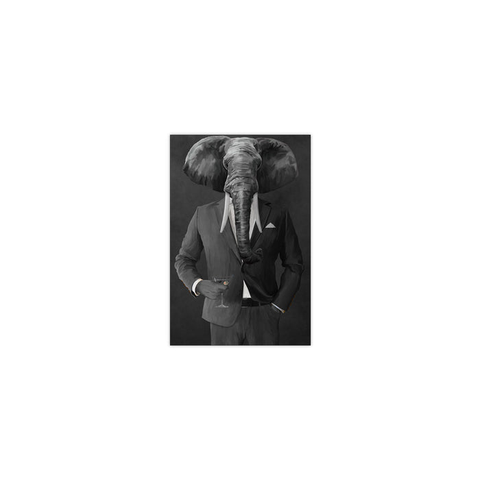 Elephant drinking martini wearing gray suit small wall art print