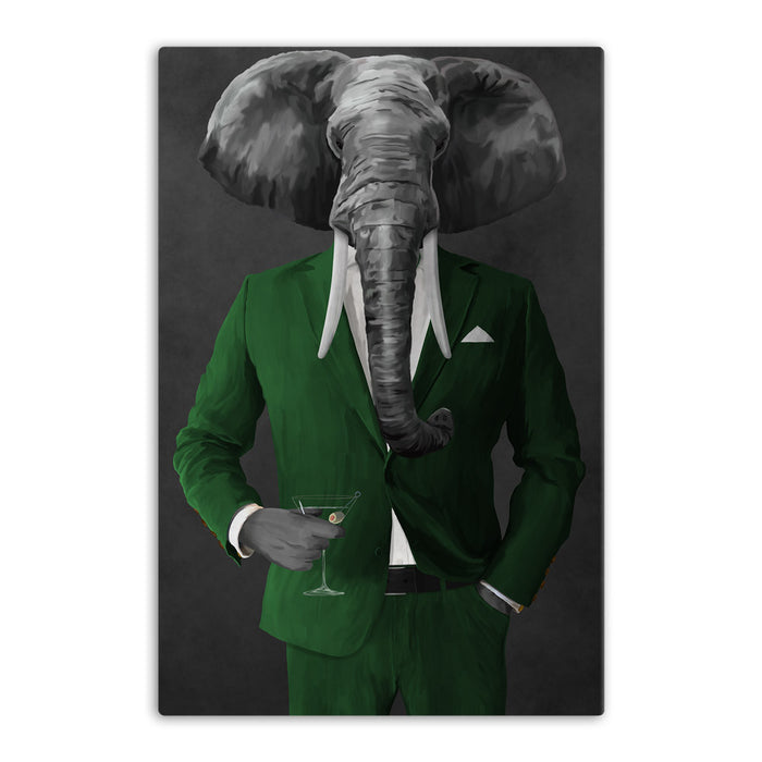Elephant drinking martini wearing green suit canvas wall art