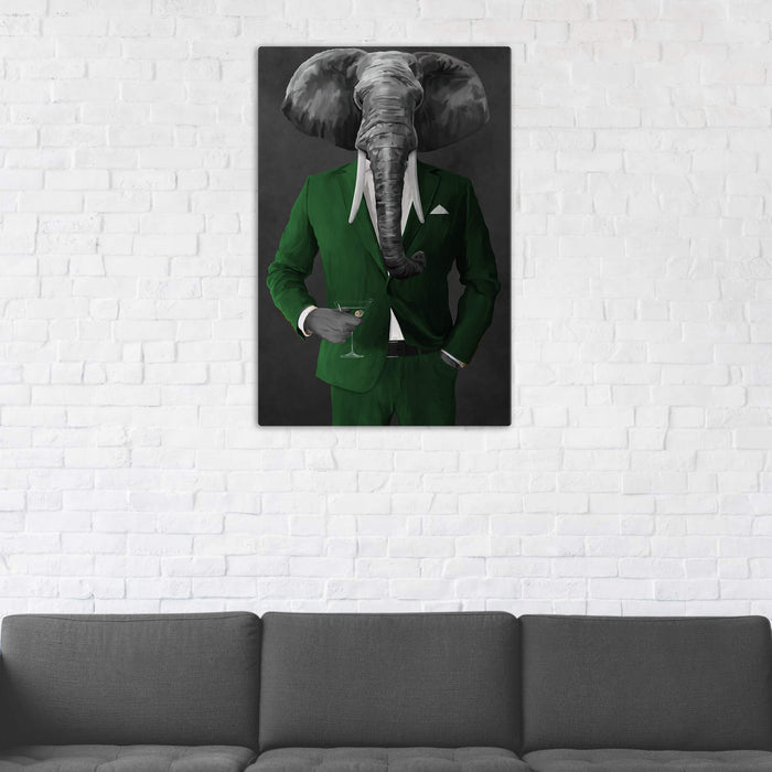 Elephant drinking martini wearing green suit wall art in man cave