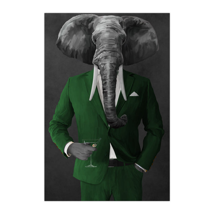 Elephant drinking martini wearing green suit large wall art print