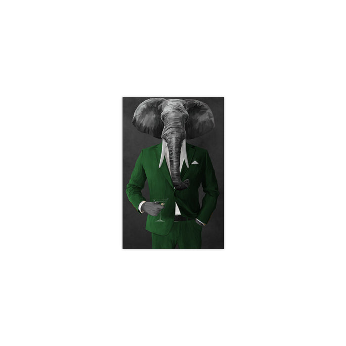 Elephant drinking martini wearing green suit small wall art print