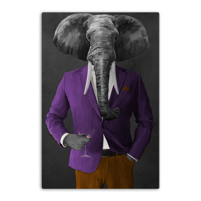 Elephant drinking martini wearing purple and orange suit canvas wall art