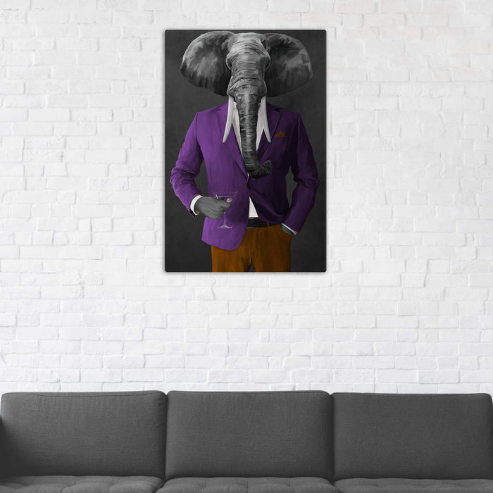 Elephant drinking martini wearing purple and orange suit wall art in man cave