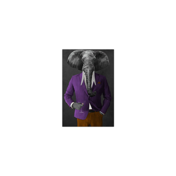 Elephant drinking martini wearing purple and orange suit small wall art print