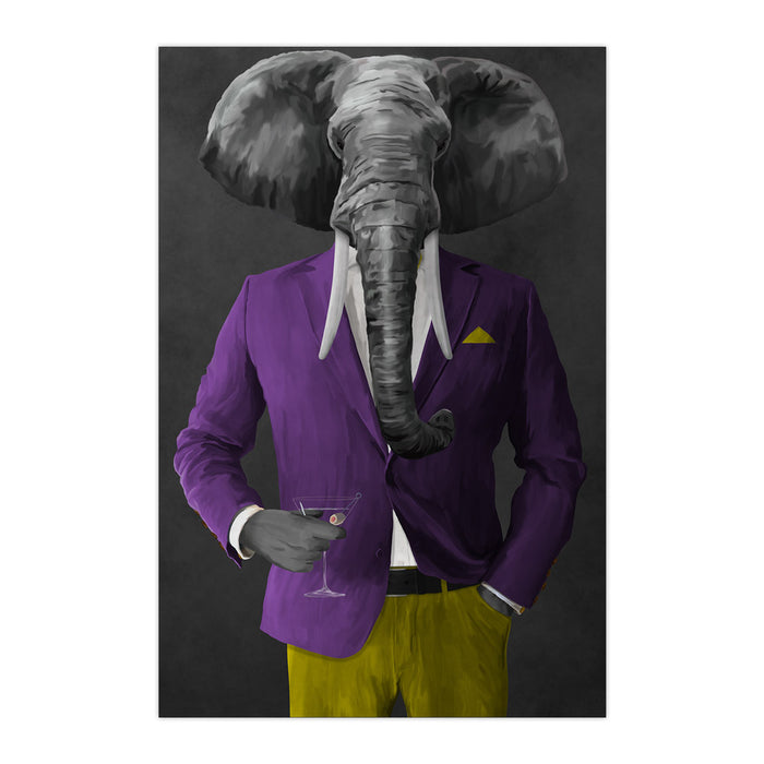 Elephant drinking martini wearing purple and yellow suit large wall art print