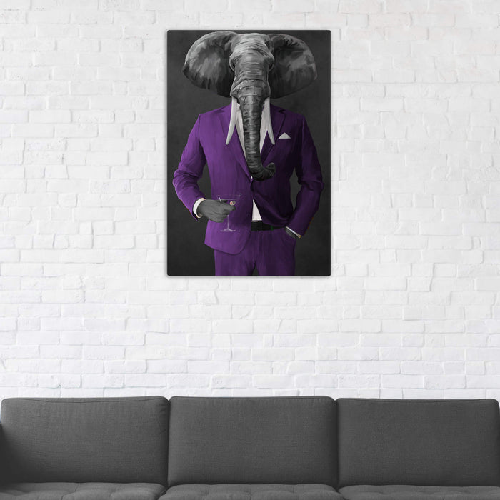 Elephant drinking martini wearing purple suit wall art in man cave