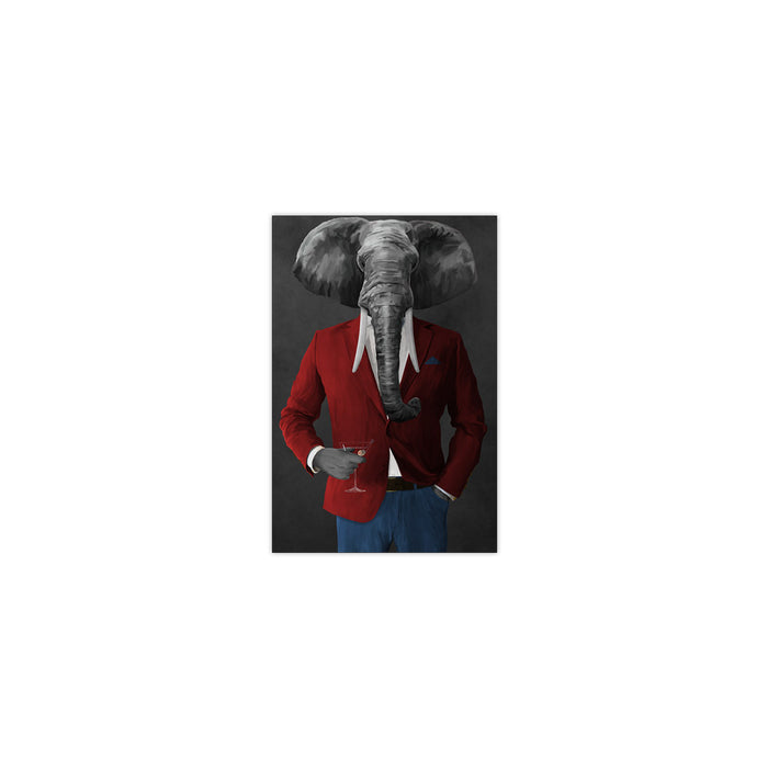 Elephant drinking martini wearing red and blue suit small wall art print