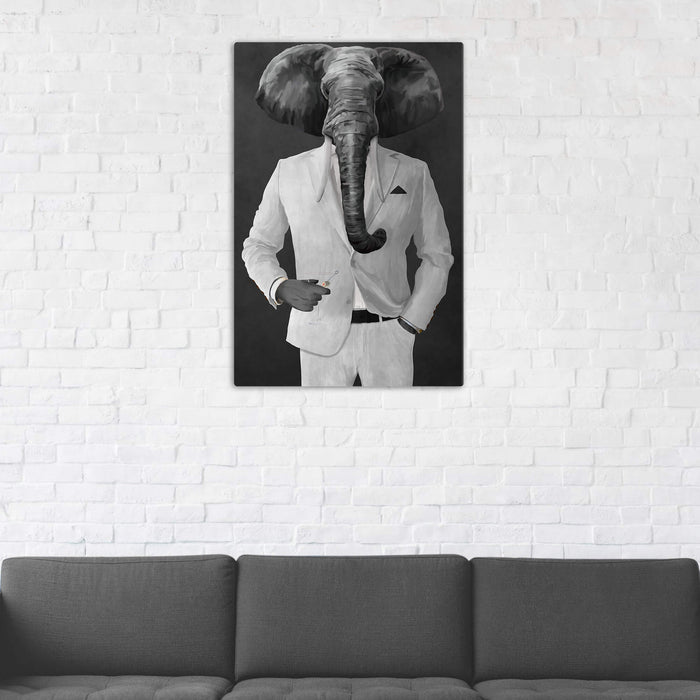Elephant drinking martini wearing white suit wall art in man cave