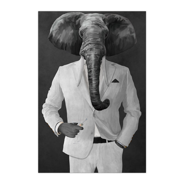 Elephant drinking martini wearing white suit large wall art print