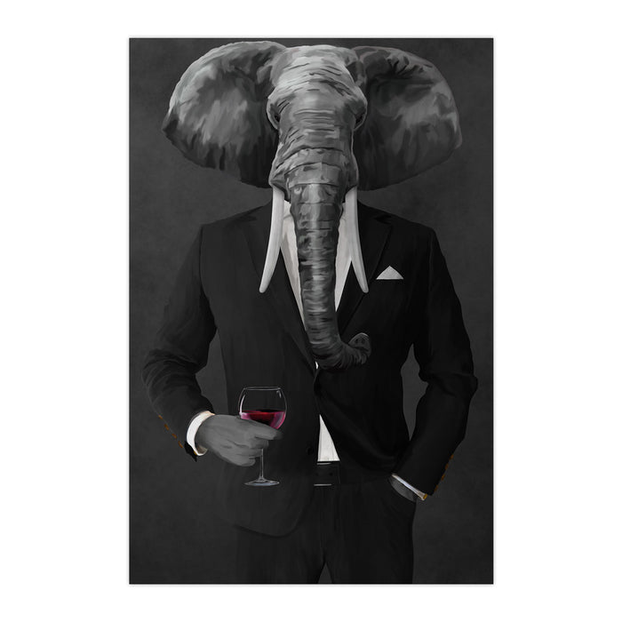 Elephant drinking red wine wearing black suit large wall art print