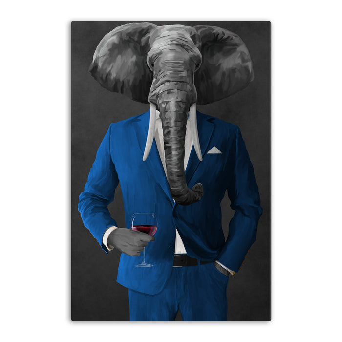 Elephant drinking red wine wearing blue suit canvas wall art
