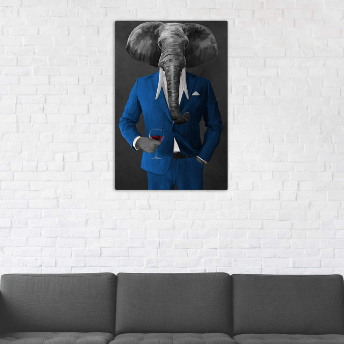 Elephant drinking red wine wearing blue suit wall art in man cave
