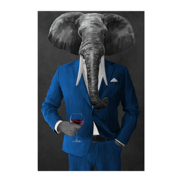 Elephant drinking red wine wearing blue suit large wall art print