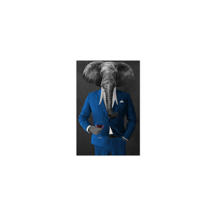 Elephant drinking red wine wearing blue suit small wall art print