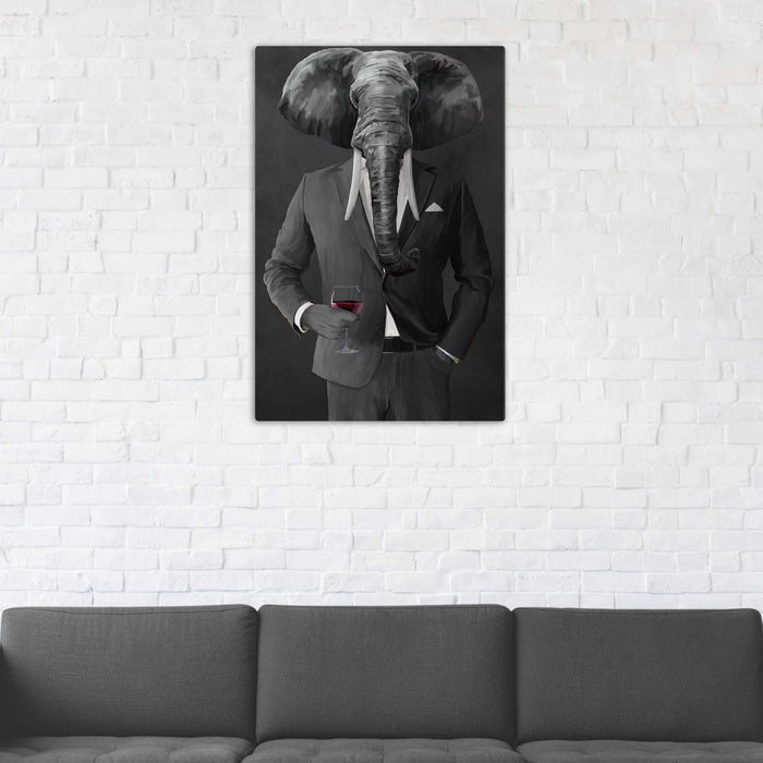 Elephant drinking red wine wearing gray suit wall art in man cave