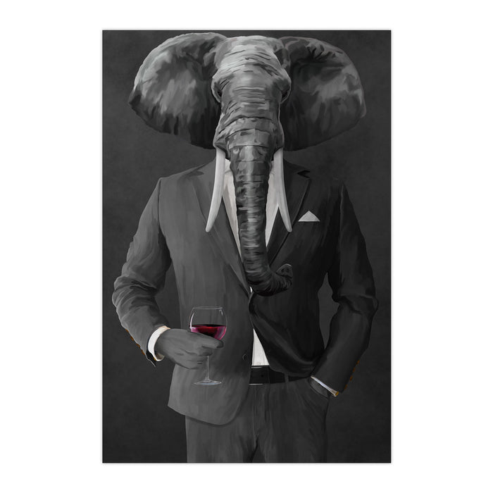 Elephant drinking red wine wearing gray suit large wall art print
