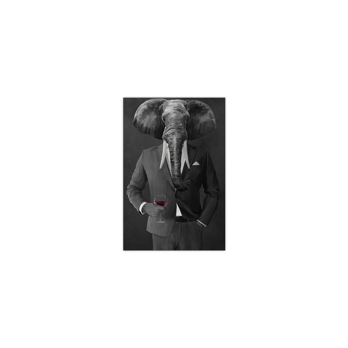 Elephant drinking red wine wearing gray suit small wall art print