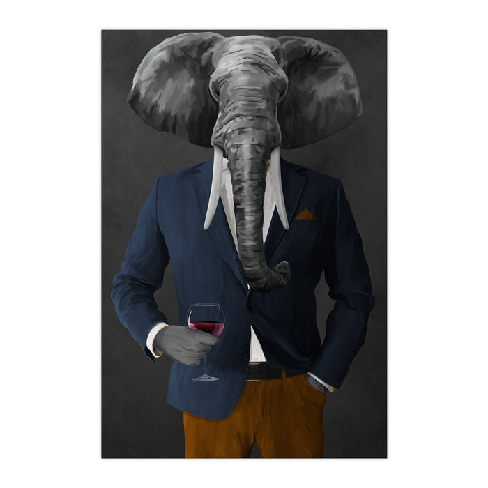 Elephant drinking red wine wearing navy and orange suit large wall art print