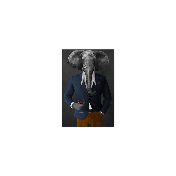 Elephant drinking red wine wearing navy and orange suit small wall art print