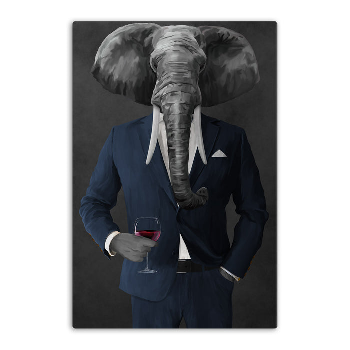 Elephant drinking red wine wearing navy suit canvas wall art