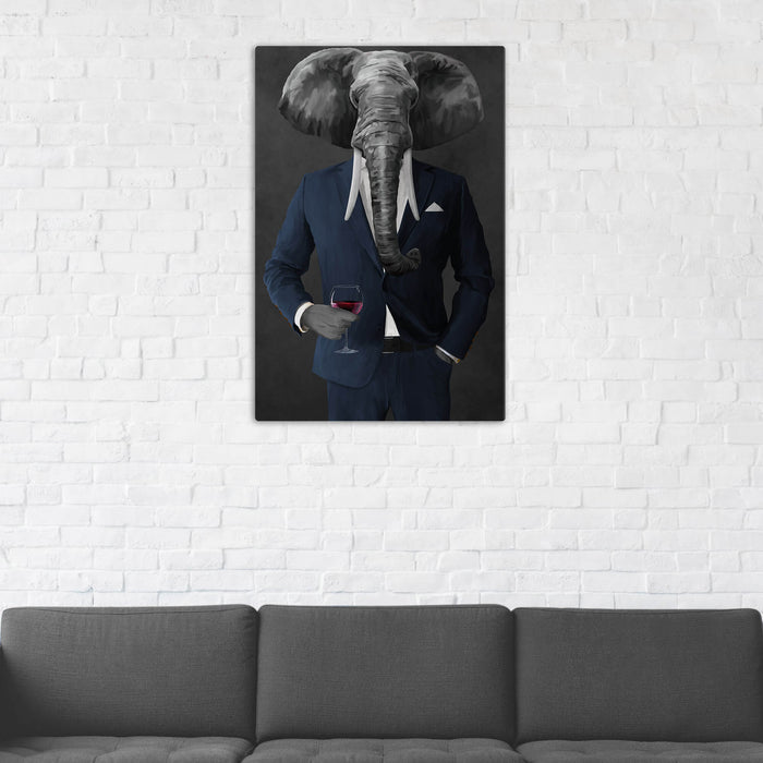 Elephant drinking red wine wearing navy suit wall art in man cave