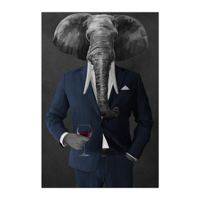 Elephant drinking red wine wearing navy suit large wall art print