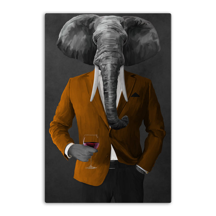 Elephant drinking red wine wearing orange and black suit canvas wall art
