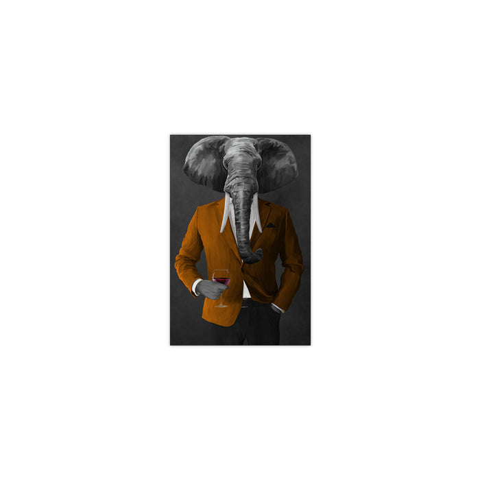 Elephant drinking red wine wearing orange and black suit small wall art print