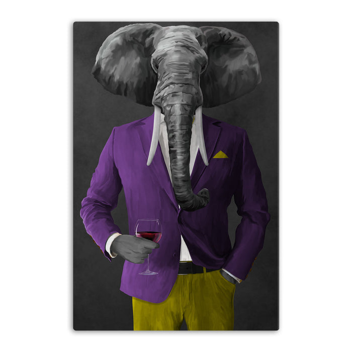 Elephant drinking red wine wearing purple and yellow suit canvas wall art