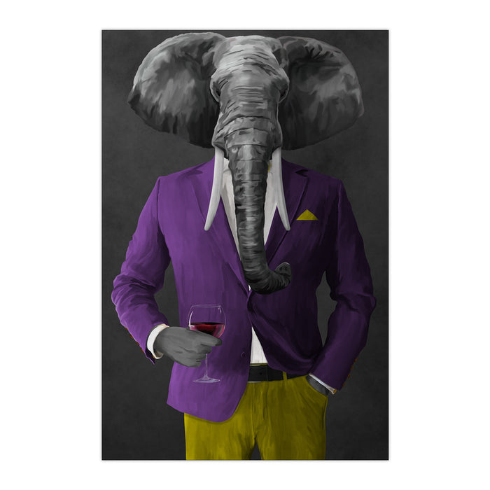 Elephant drinking red wine wearing purple and yellow suit large wall art print