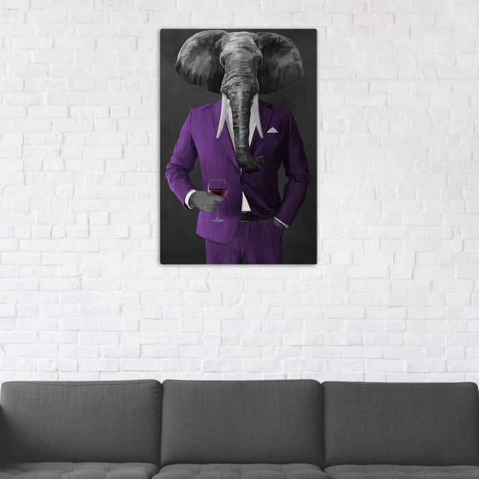 Elephant drinking red wine wearing purple suit wall art in man cave