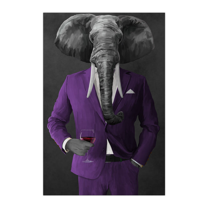 Elephant drinking red wine wearing purple suit large wall art print