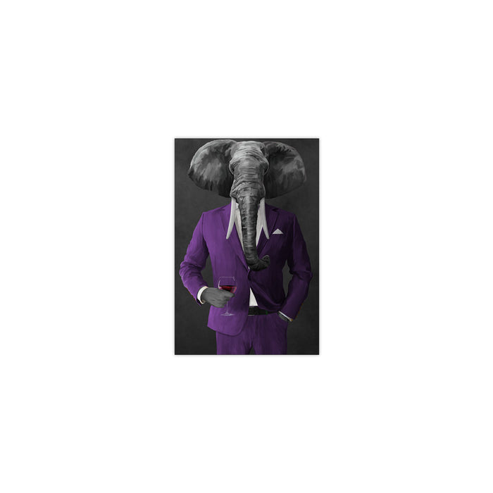 Elephant drinking red wine wearing purple suit small wall art print