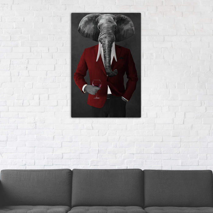 Elephant drinking red wine wearing red and black suit wall art in man cave