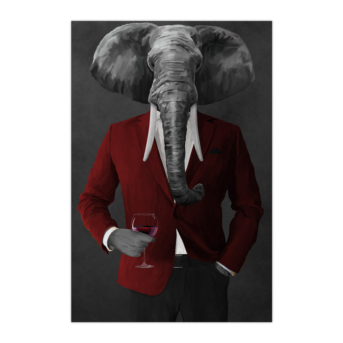 Elephant drinking red wine wearing red and black suit large wall art print