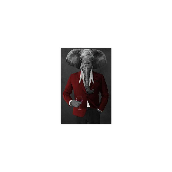 Elephant drinking red wine wearing red and black suit small wall art print