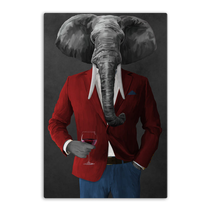 Elephant drinking red wine wearing red and blue suit canvas wall art