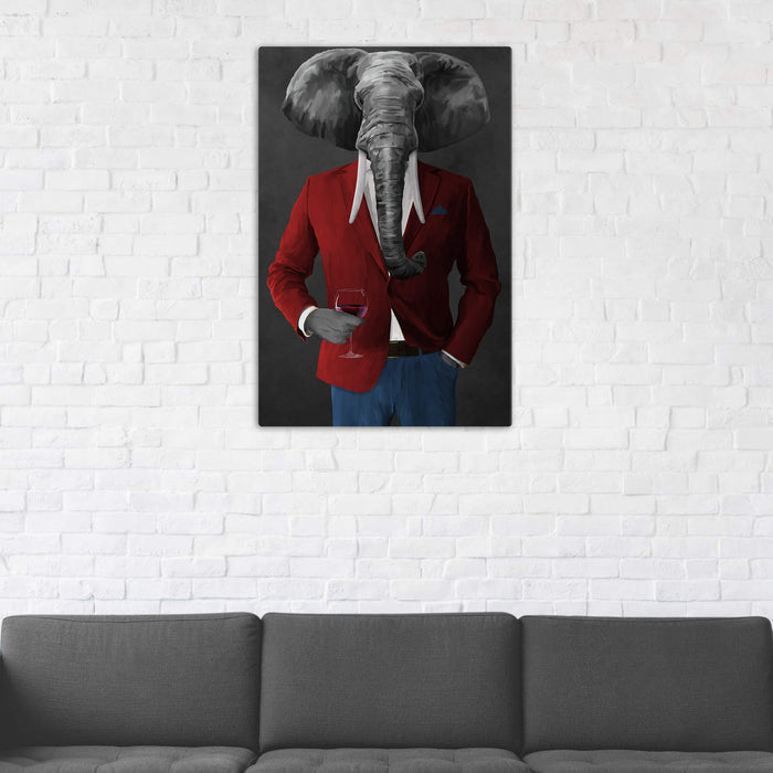 Elephant drinking red wine wearing red and blue suit wall art in man cave