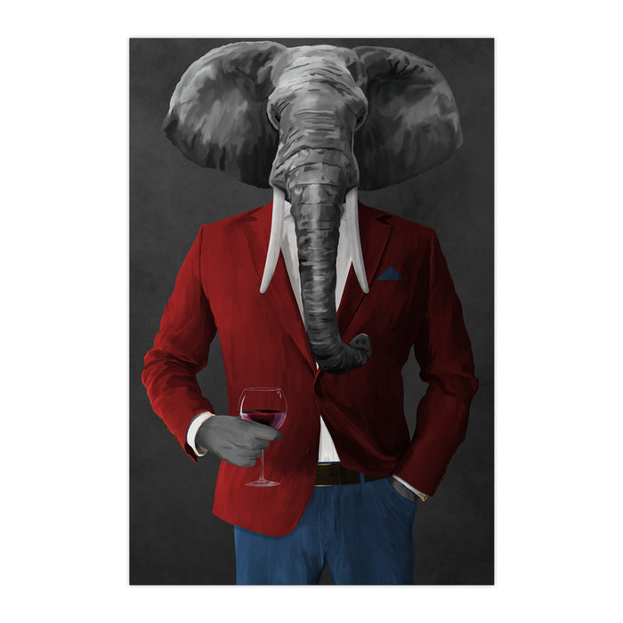 Elephant drinking red wine wearing red and blue suit large wall art print
