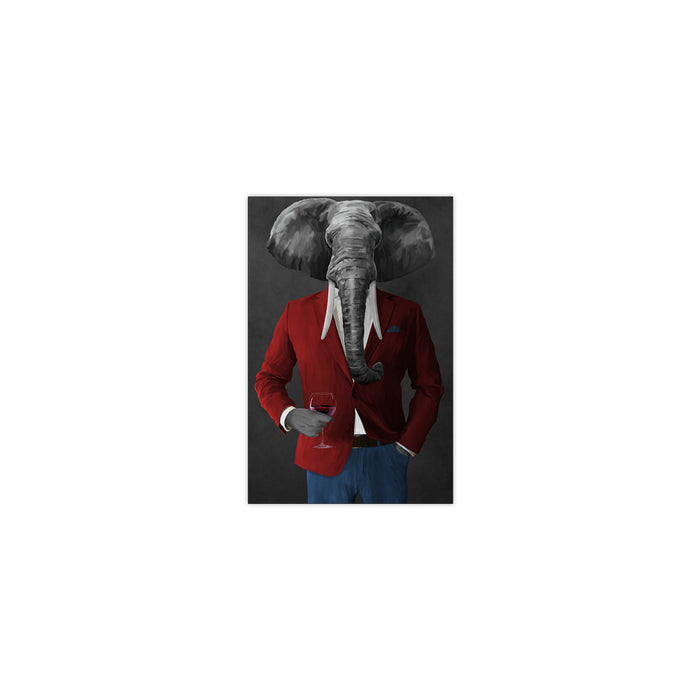 Elephant drinking red wine wearing red and blue suit small wall art print