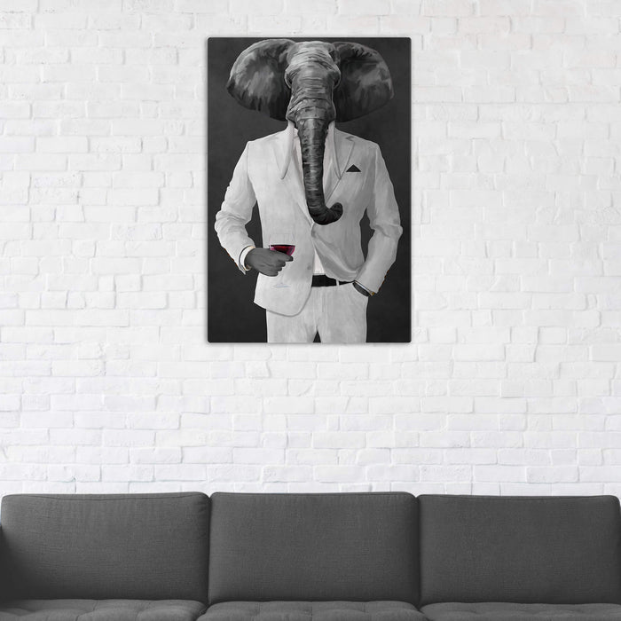 Elephant drinking red wine wearing white suit wall art in man cave