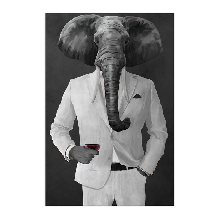 Elephant drinking red wine wearing white suit large wall art print