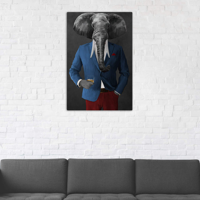 Elephant drinking whiskey wearing blue and red suit wall art in man cave