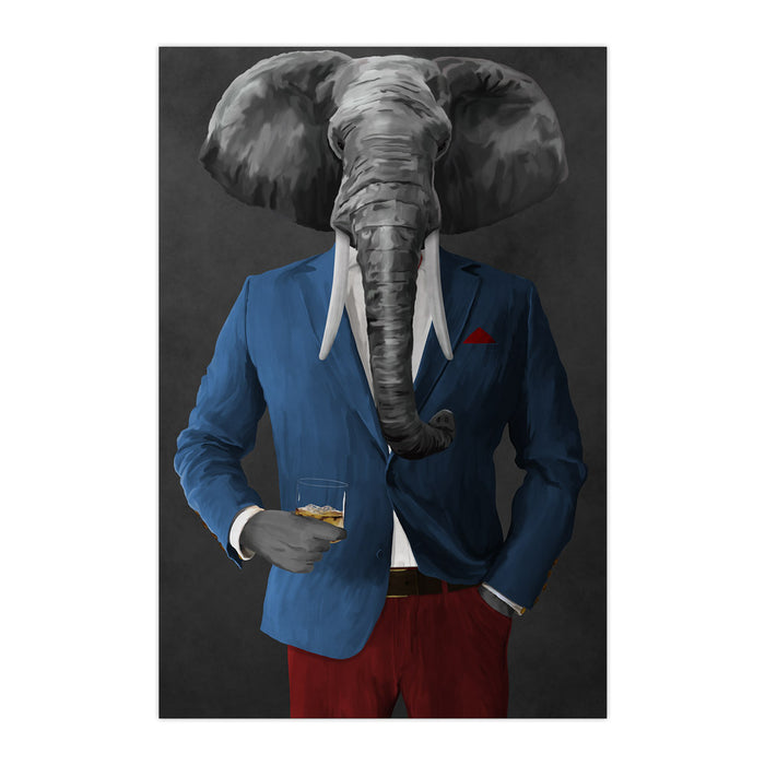 Elephant drinking whiskey wearing blue and red suit large wall art print