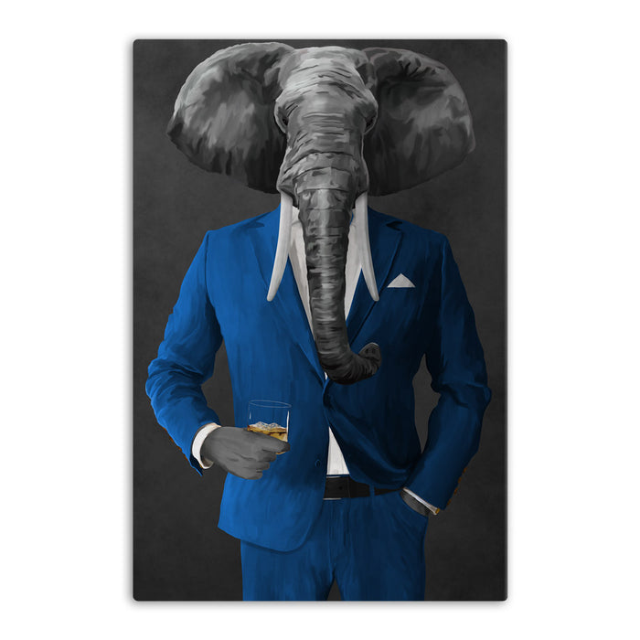 Elephant drinking whiskey wearing blue suit canvas wall art