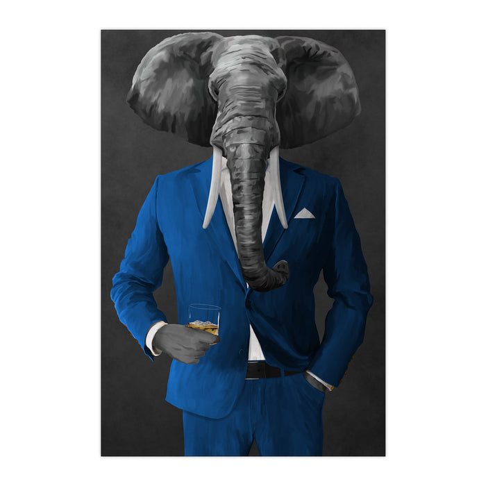 Elephant drinking whiskey wearing blue suit large wall art print