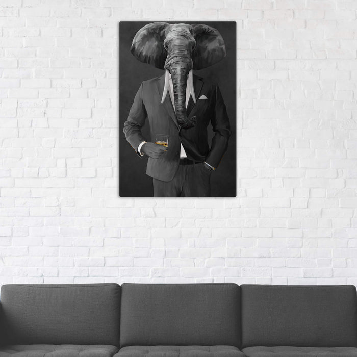 Elephant drinking whiskey wearing gray suit wall art in man cave